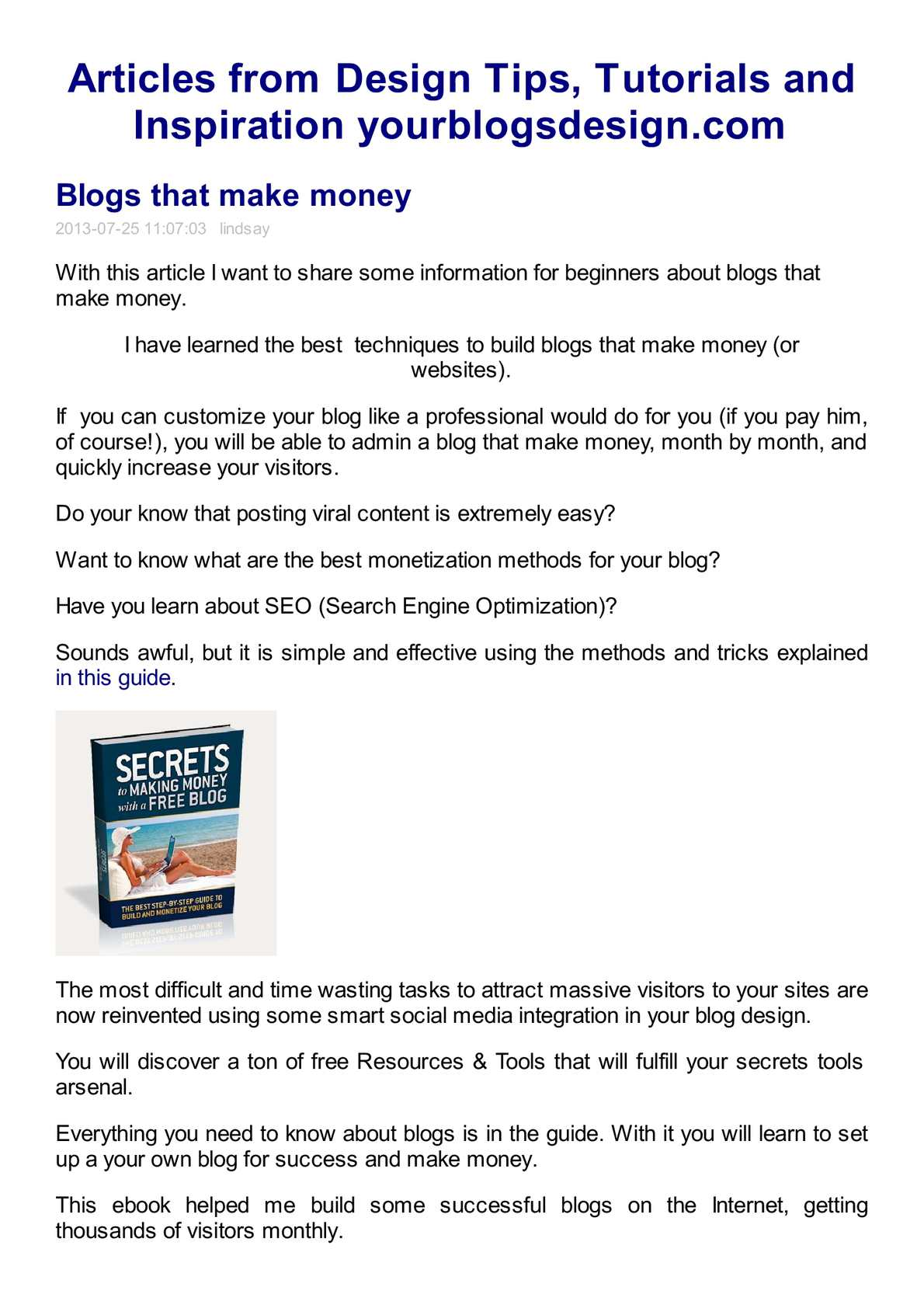 Calaméo   Blogs That Make Money