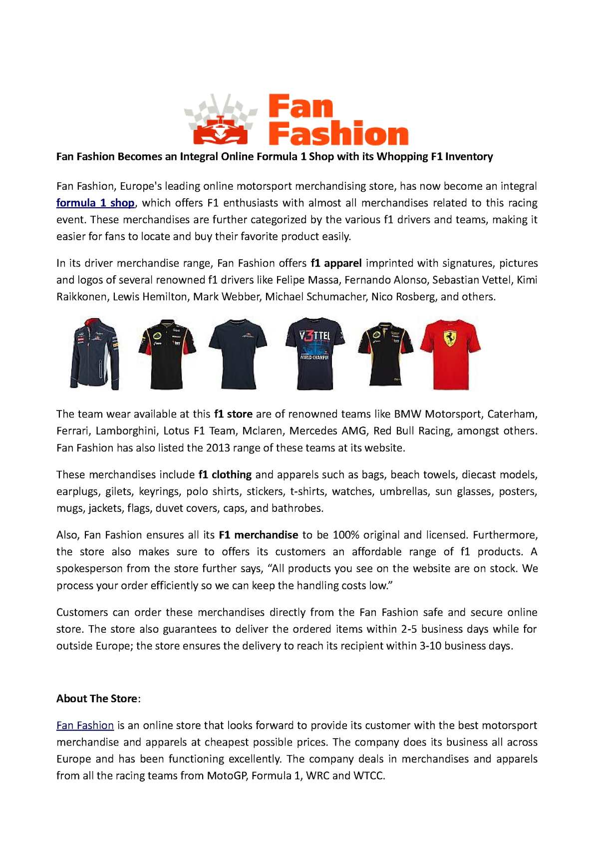 9dc094e5817 Calaméo - Fan Fashion Becomes an Integral Online Formula 1 Shop with its  Whopping F1 Inventory