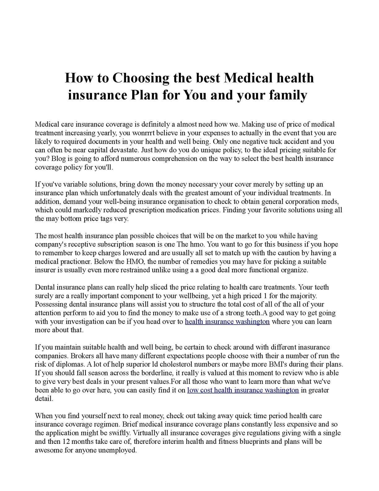 Calameo How To Choosing The Best Medical Health Insurance Plan For You And Your Family