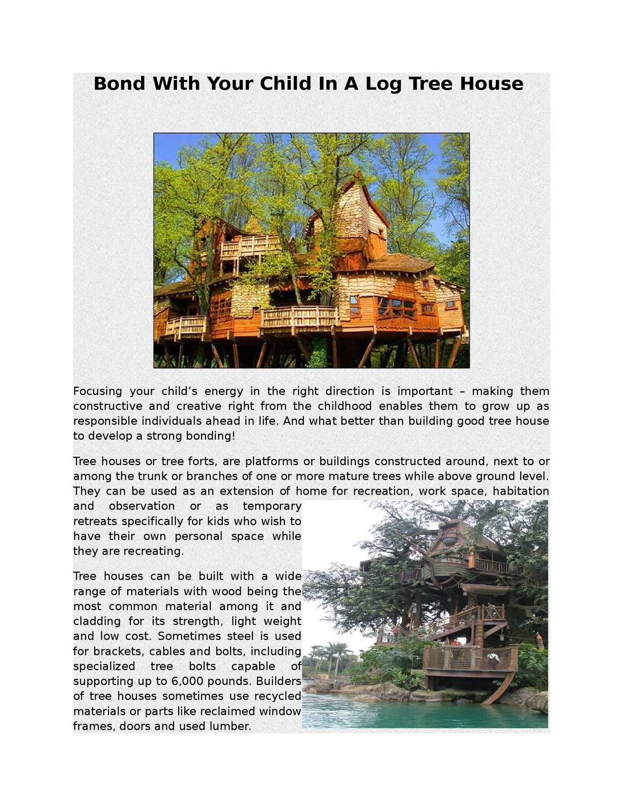 Picture of: Calameo Bond With Your Child In A Log Tree House