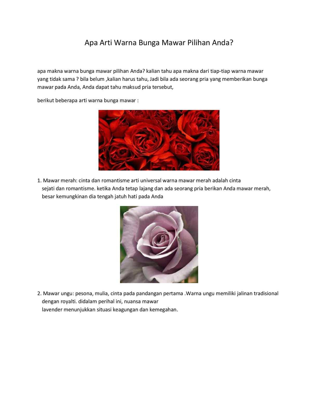 Calameo Apa Arti Warna Bunga Mawar Pilihan Anda