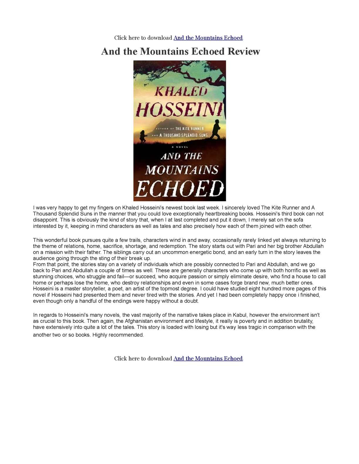 pdf mountains echoed and the book