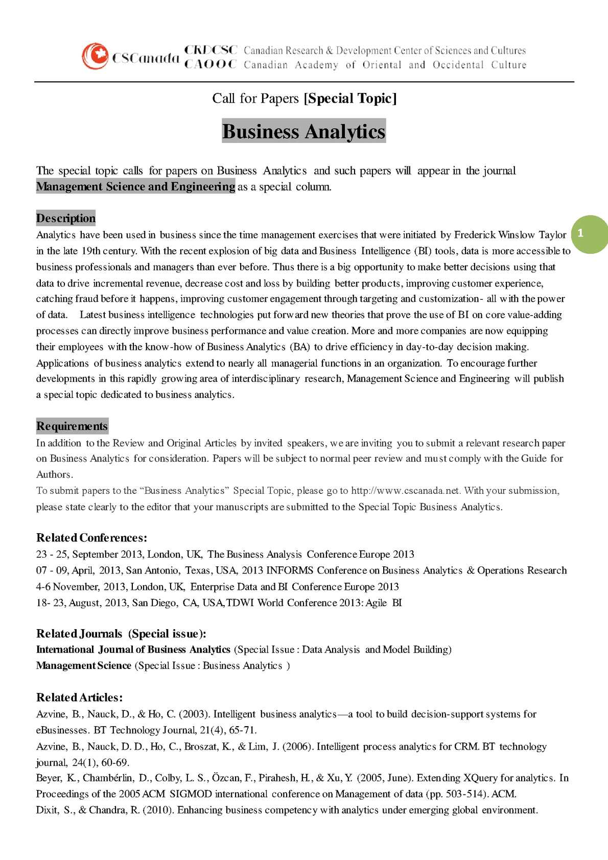 business analytics research papers pdf