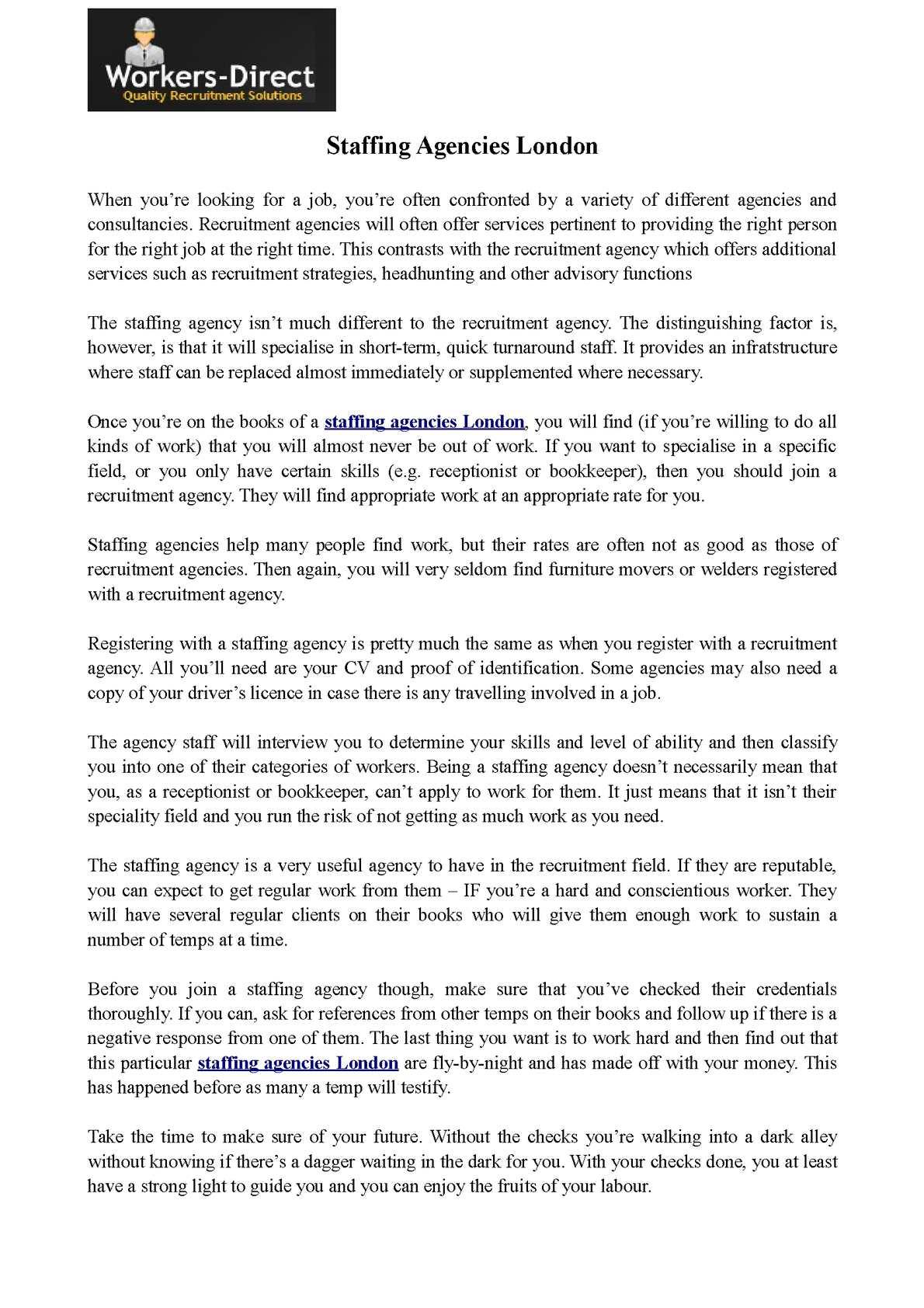 Calaméo - Staffing Agencies London