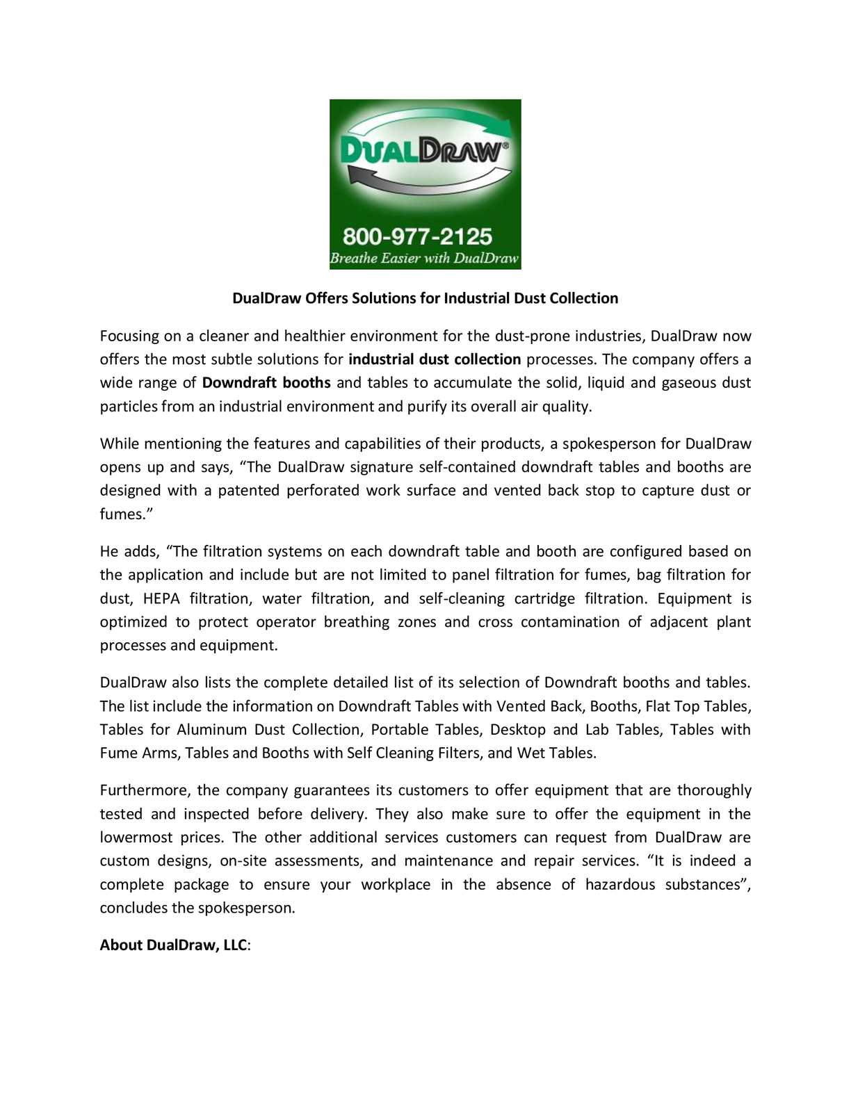 Calaméo - DualDraw Offers Solutions for Industrial Dust