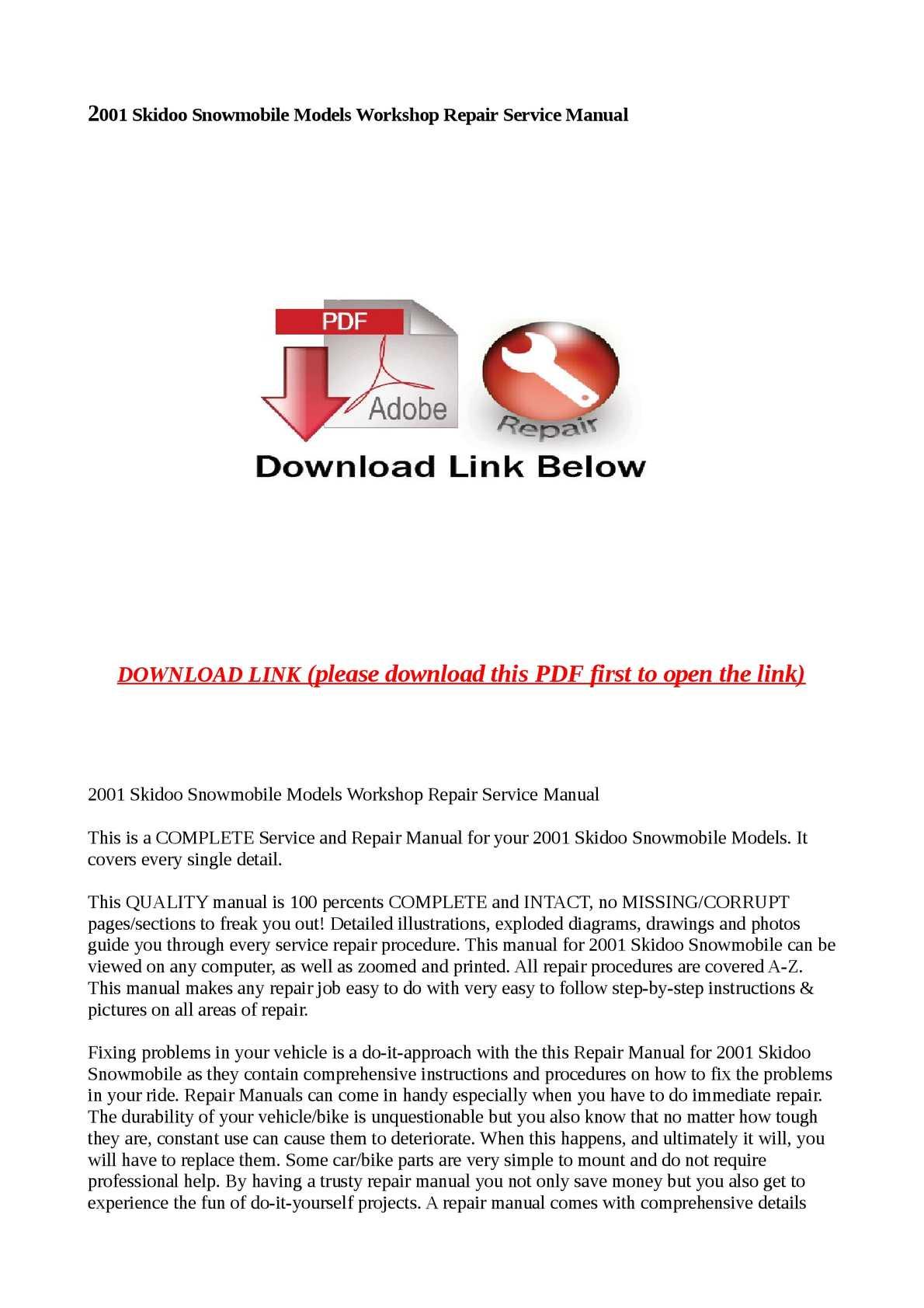 Ski-Doo MXZ 600 X 2001 PDF Sled Service//Repair Workshop Manual CD