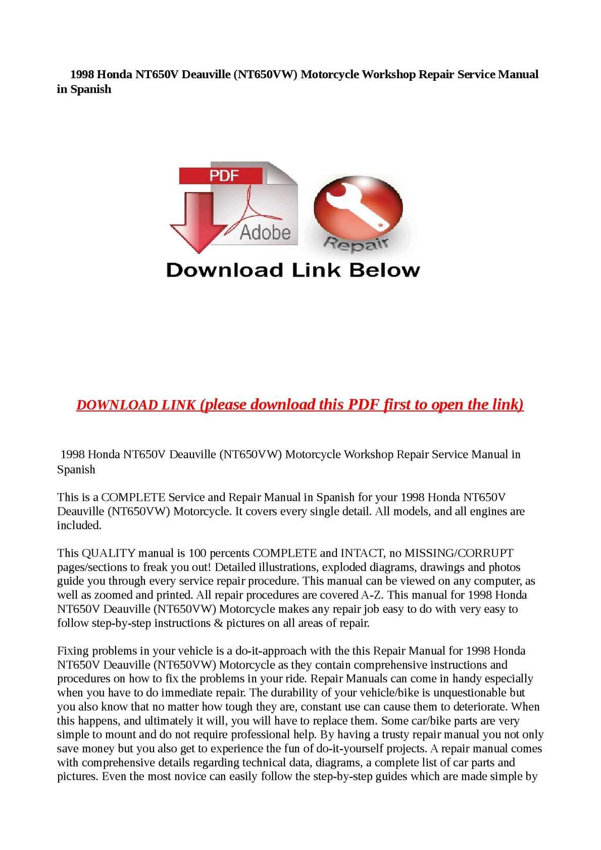 Workshop Service Manual for HONDA DEAUVILLE NT650V
