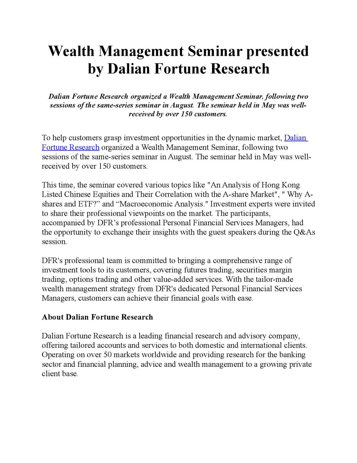 Calaméo - Wealth Management Seminar presented by Dalian Fortune Research