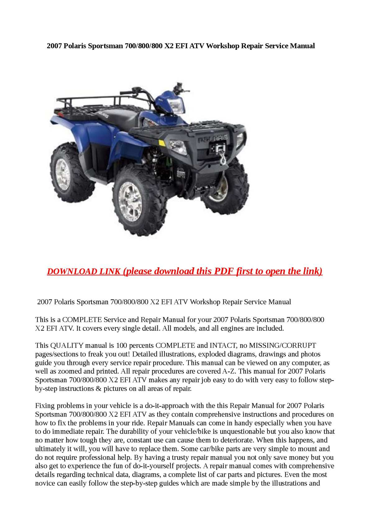 2002 Polaris Sportsman 700 Parts Manual Pdf