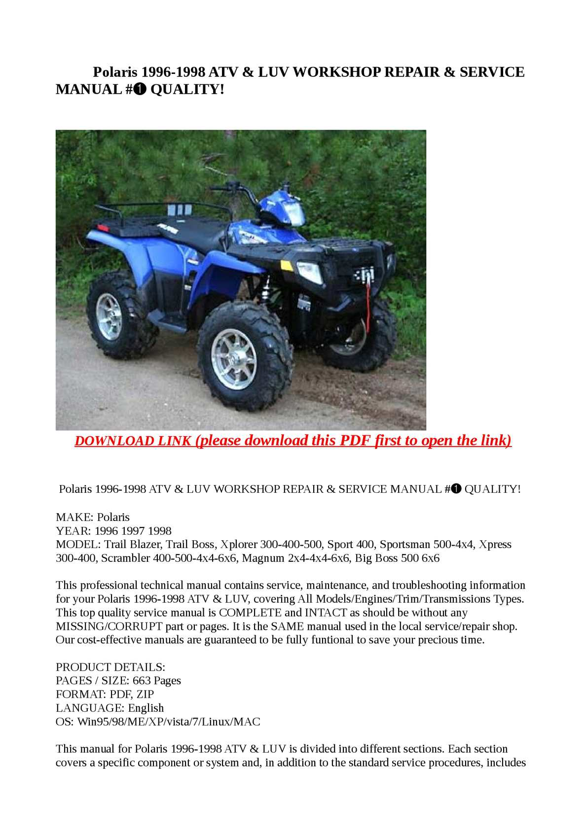 calam o polaris 1996 1998 atv luv workshop repair service rh calameo com Polaris  Sport 400 Racing 1997 Polaris Sport 400