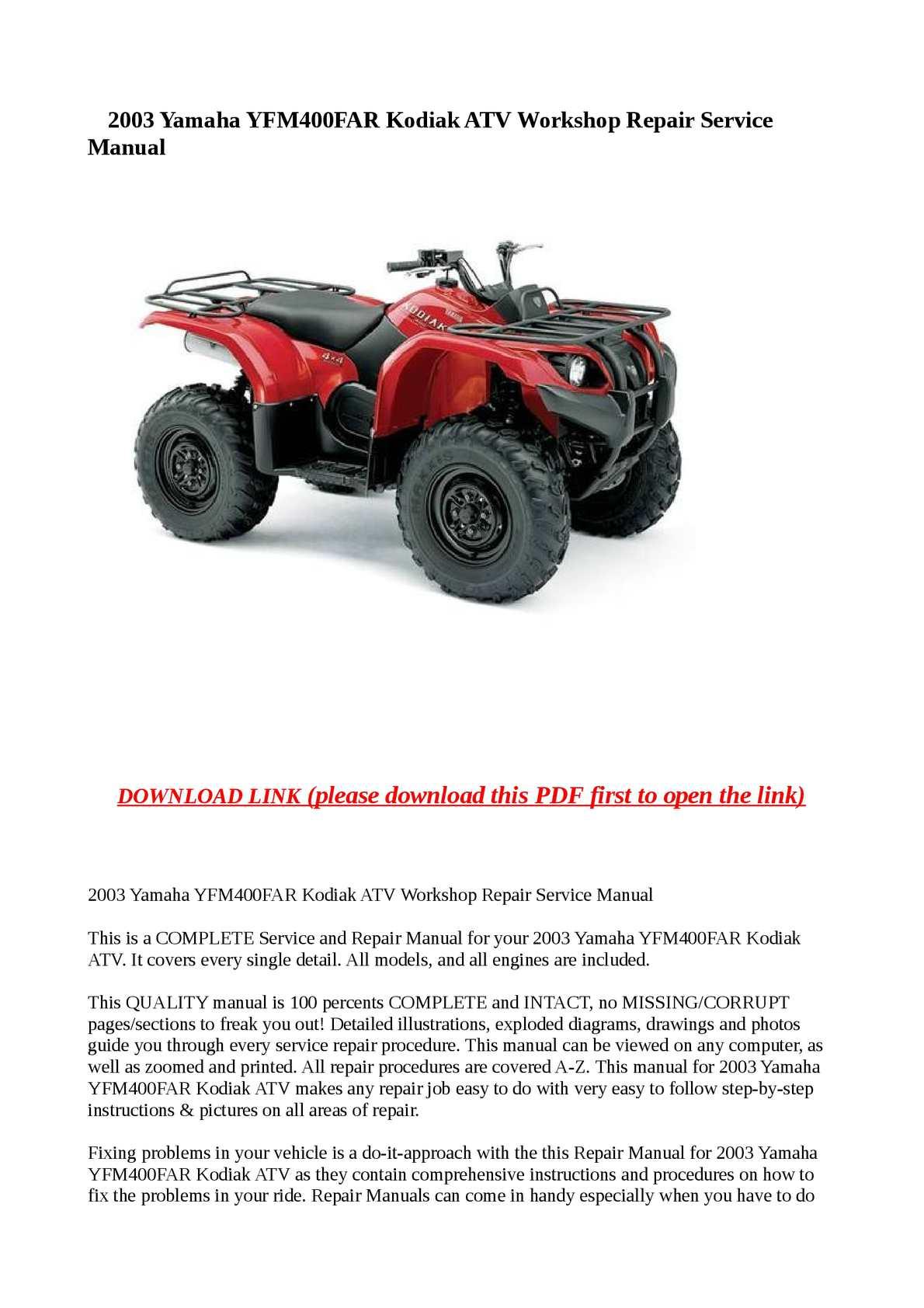 Calaméo - 2003 Yamaha YFM400FAR Kodiak ATV Workshop Repair Service Manual