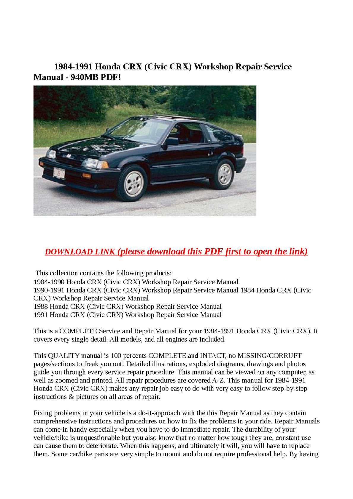 Calaméo - 1984-1991 Honda CRX (Civic CRX) Workshop Repair Service Manual -  940MB PDF!