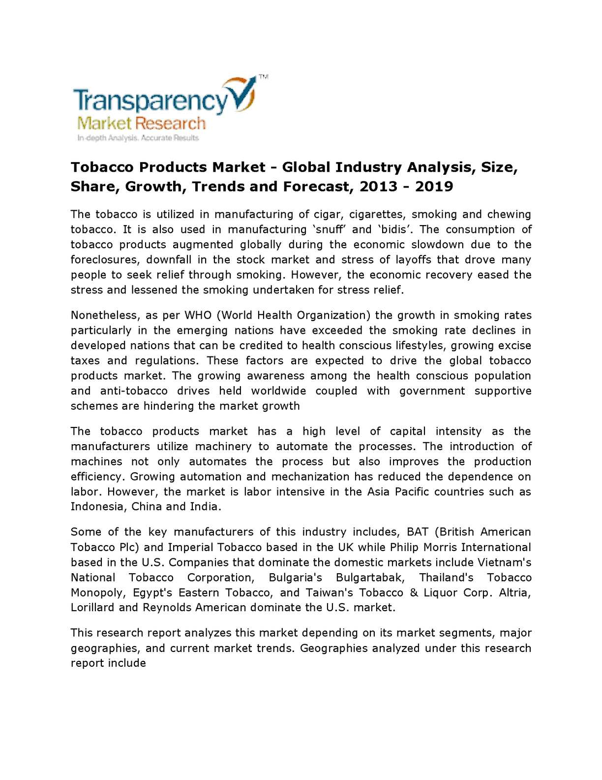 Calaméo - Latest Report:Tobacco Products Market - Global