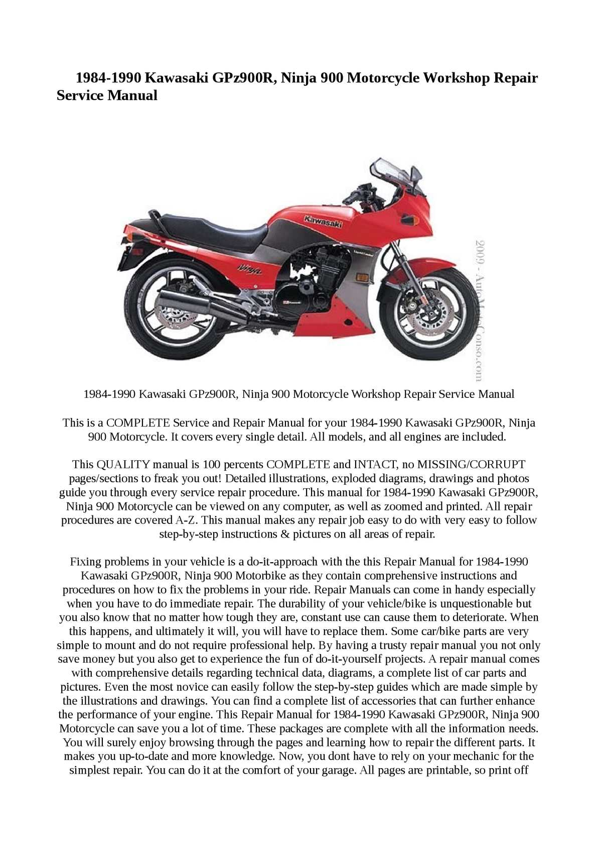 Calaméo - 1984-1990 Kawasaki GPz900R, Ninja 900 Motorcycle Workshop Repair  Service Manual