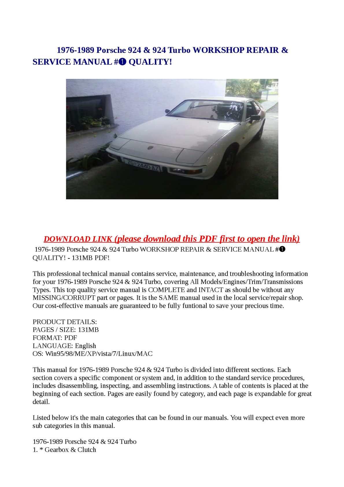Calaméo - 1976-1989 Porsche 924 & 924 Turbo WORKSHOP REPAIR & SERVICE MANUAL  #➀ QUALITY!
