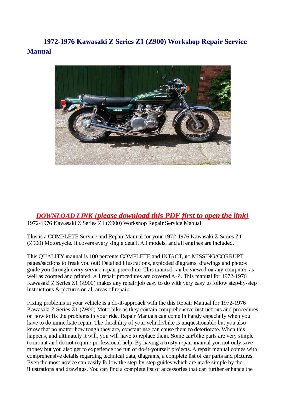 Calaméo - 1972-1976 Kawasaki Z Series Z1 (Z900) Workshop Repair Service  Manual