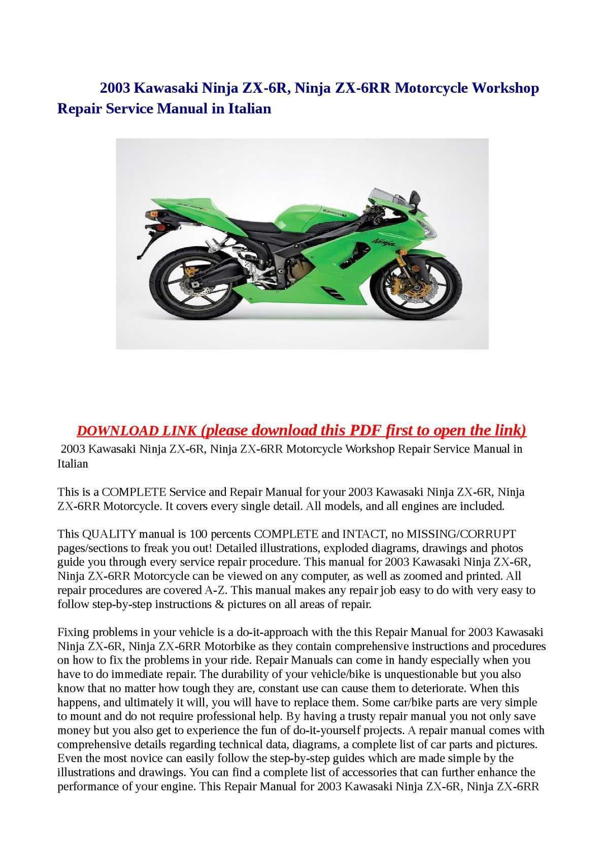 Calaméo 2003 Kawasaki Ninja Zx 6r Ninja Zx 6rr Motorcycle
