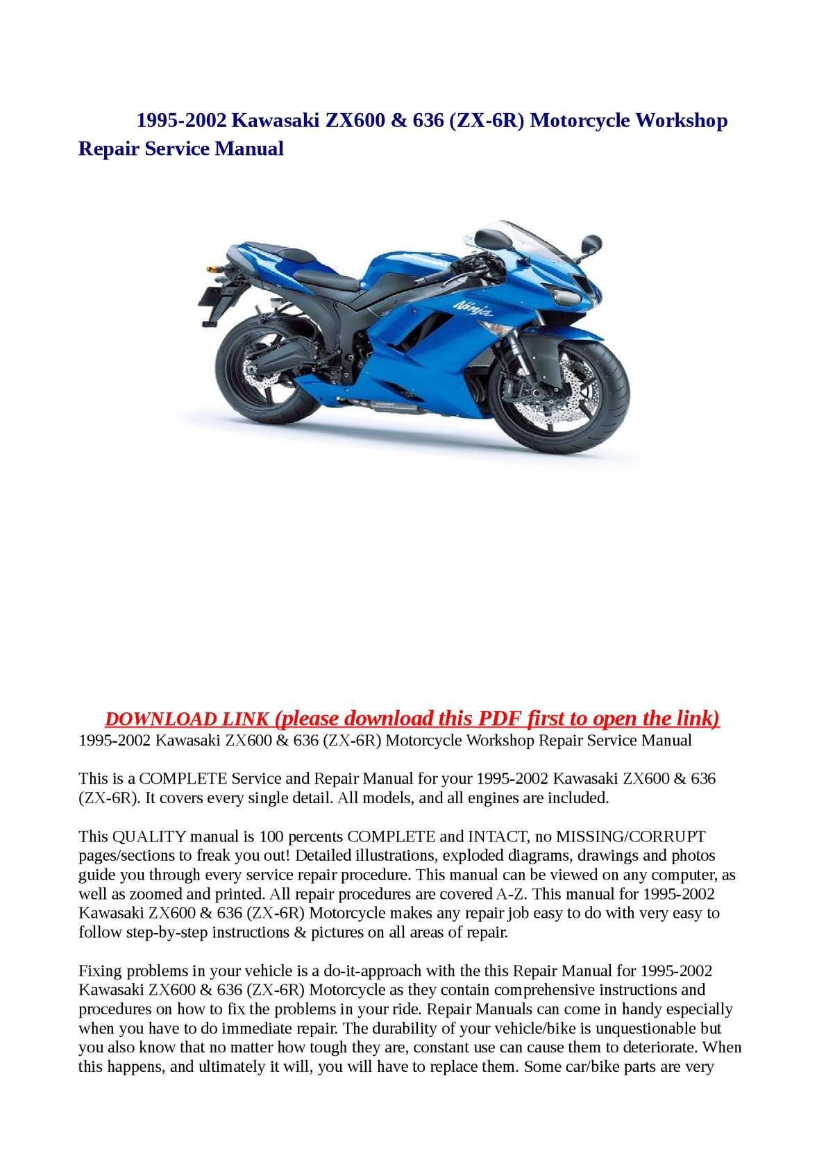 Calameo 1995 2002 Kawasaki Zx600 636 Zx 6r Motorcycle Workshop Repair Service Manual