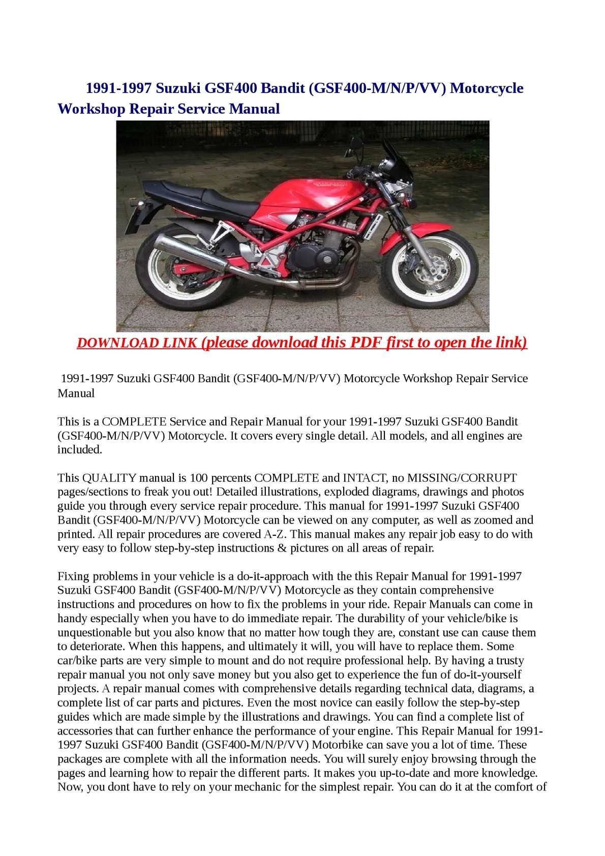 Calameo 1991 1997 Suzuki Gsf400 Bandit Gsf400 M N P Vv Motorcycle Workshop Repair Service Manual