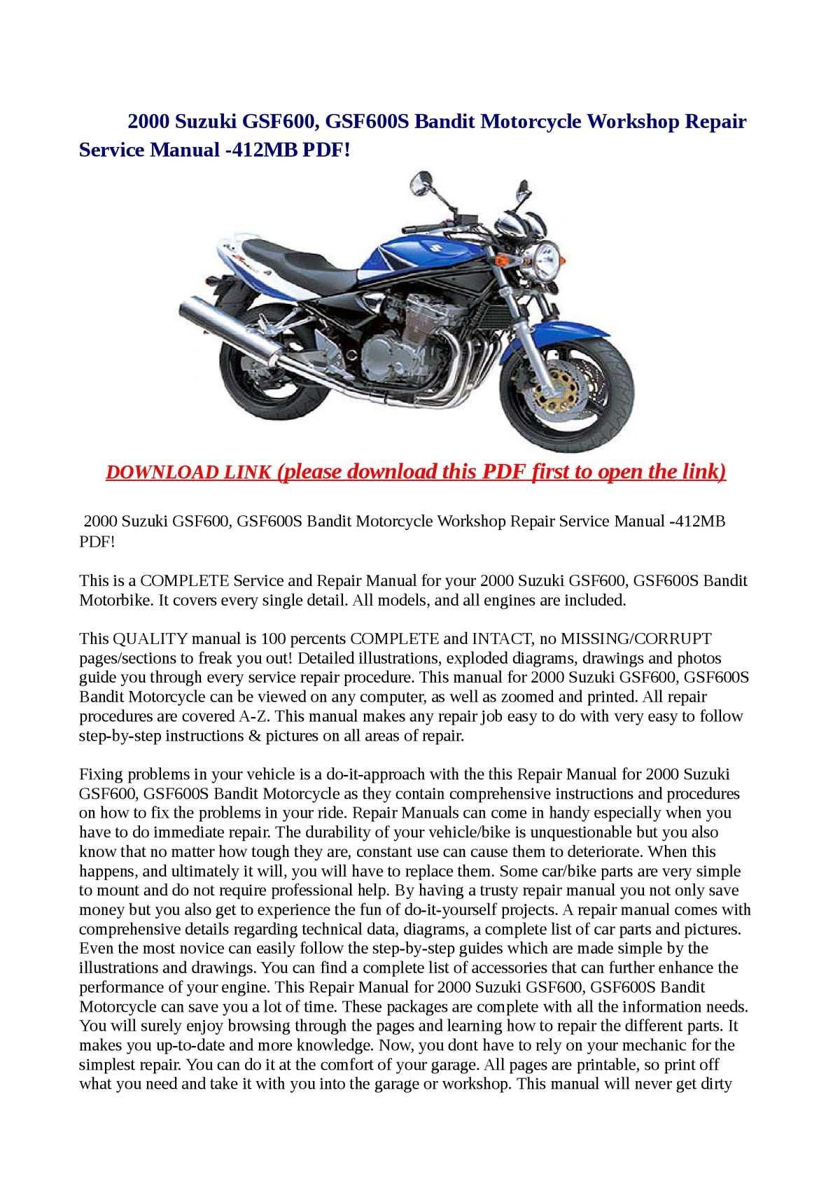 Calaméo - 2000 Suzuki GSF600, GSF600S Bandit Motorcycle Workshop Repair  Service Manual -412MB PDF!