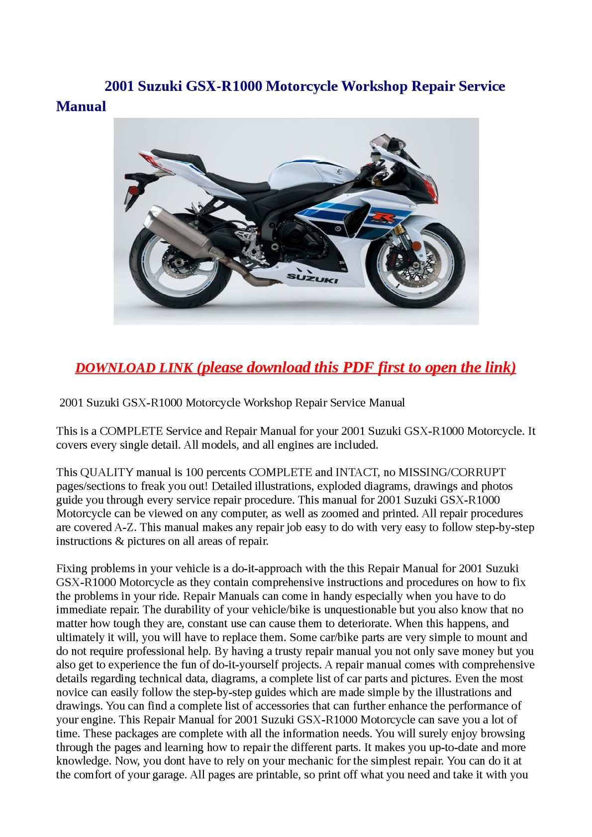 Calaméo - 2001 Suzuki GSX-R1000 Motorcycle Workshop Repair Service Manual