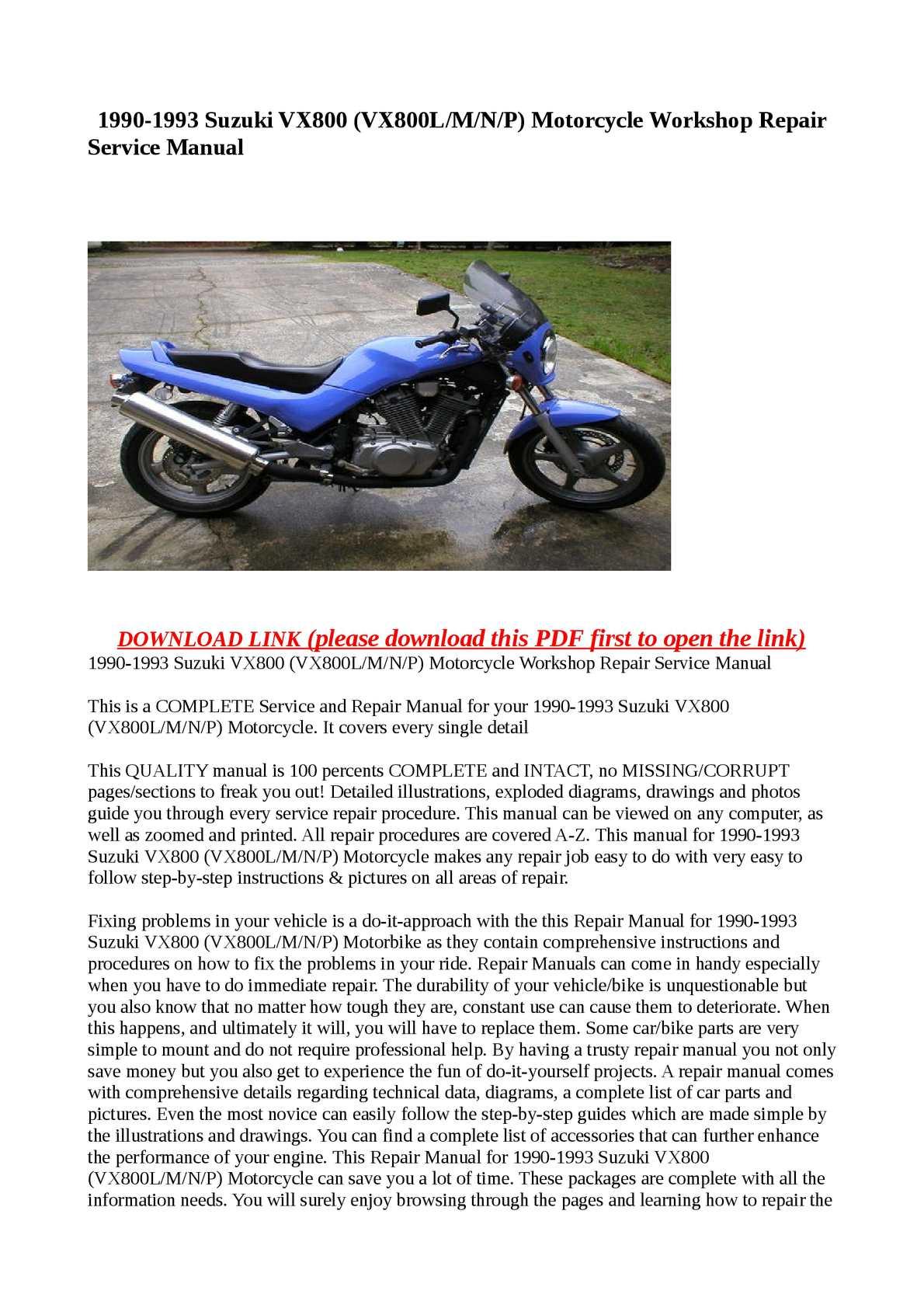 Calameo 1990 1993 Suzuki Vx800 Vx800l M N P Motorcycle Workshop Repair Service Manual