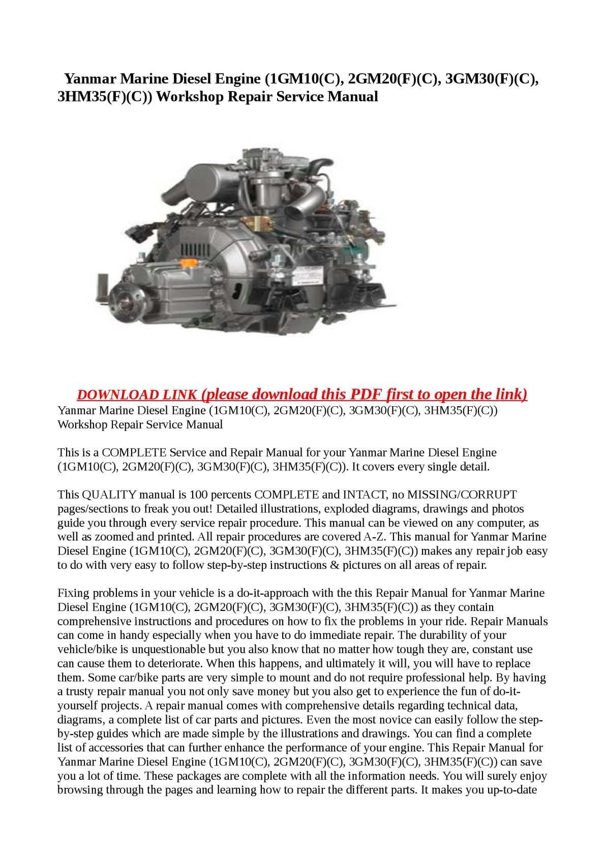 Calaméo - Yanmar Marine Diesel Engine (1GM10(C), 2GM20(F)(C), 3GM30(F)(C),  3HM35(F)(C)) Workshop Repair Service Manual