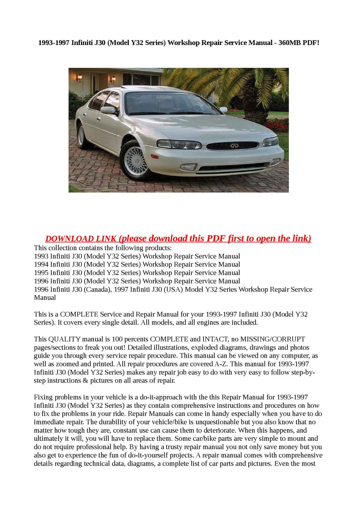 Calaméo - 1993-1997 Infiniti J30 (Model Y32 Series) Workshop Repair Service  Manual - 360MB PDF!