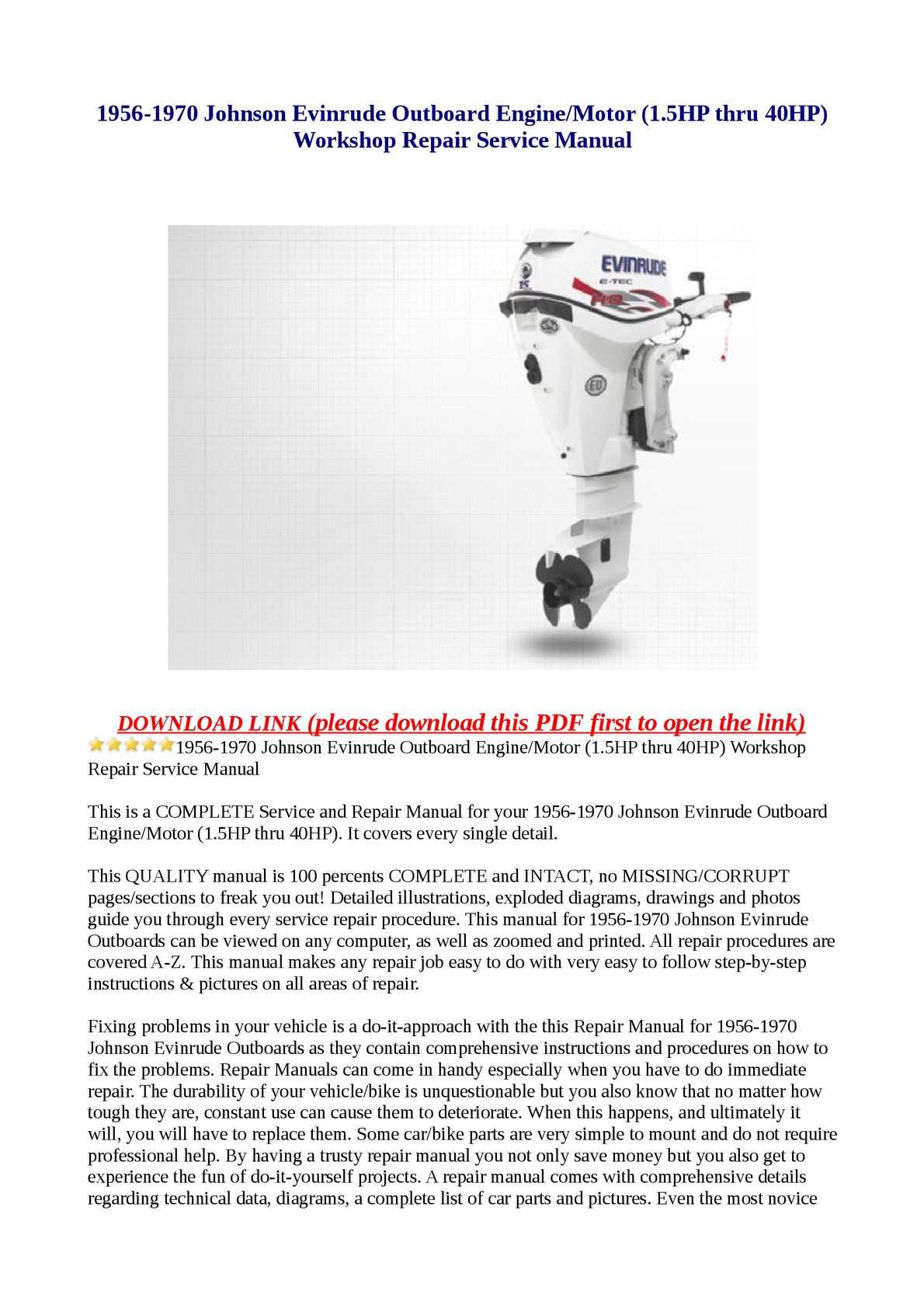 Calaméo - 1956-1970 Johnson Evinrude Outboard Engine/Motor (1.5HP thru  40HP) Workshop Repair Service Manual
