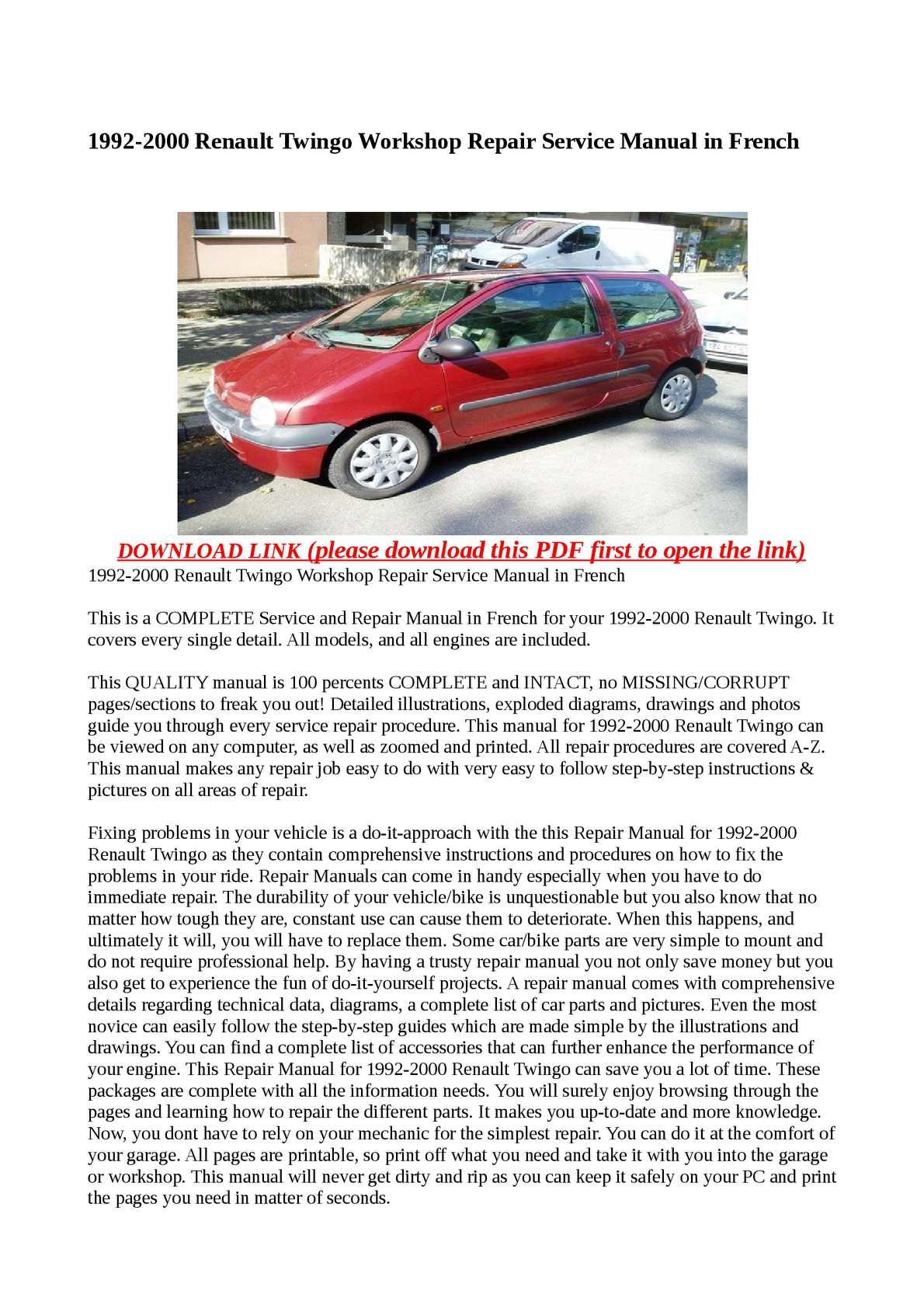 online vehicle mechanic manuals Array - calam o 1992 2000 renault twingo workshop  repair service manual in rh calameo com