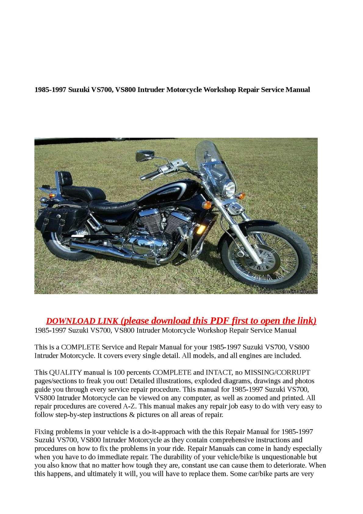 Calaméo - 1985-1997 Suzuki VS700, VS800 Intruder Motorcycle Workshop Repair  Service Manual