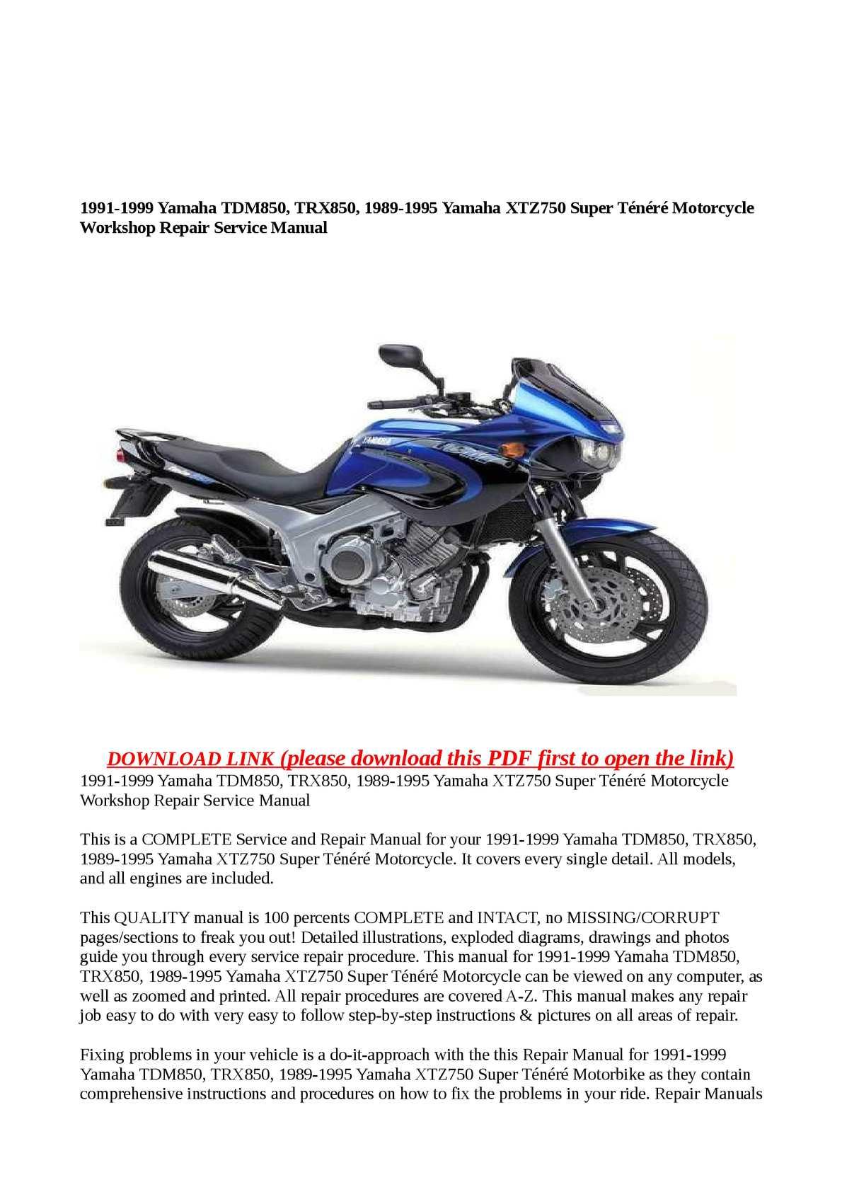 Calaméo - 1991-1999 Yamaha TDM850, TRX850, 1989-1995 Yamaha XTZ750 Super  Ténéré Motorcycle Workshop Repair Service Manual