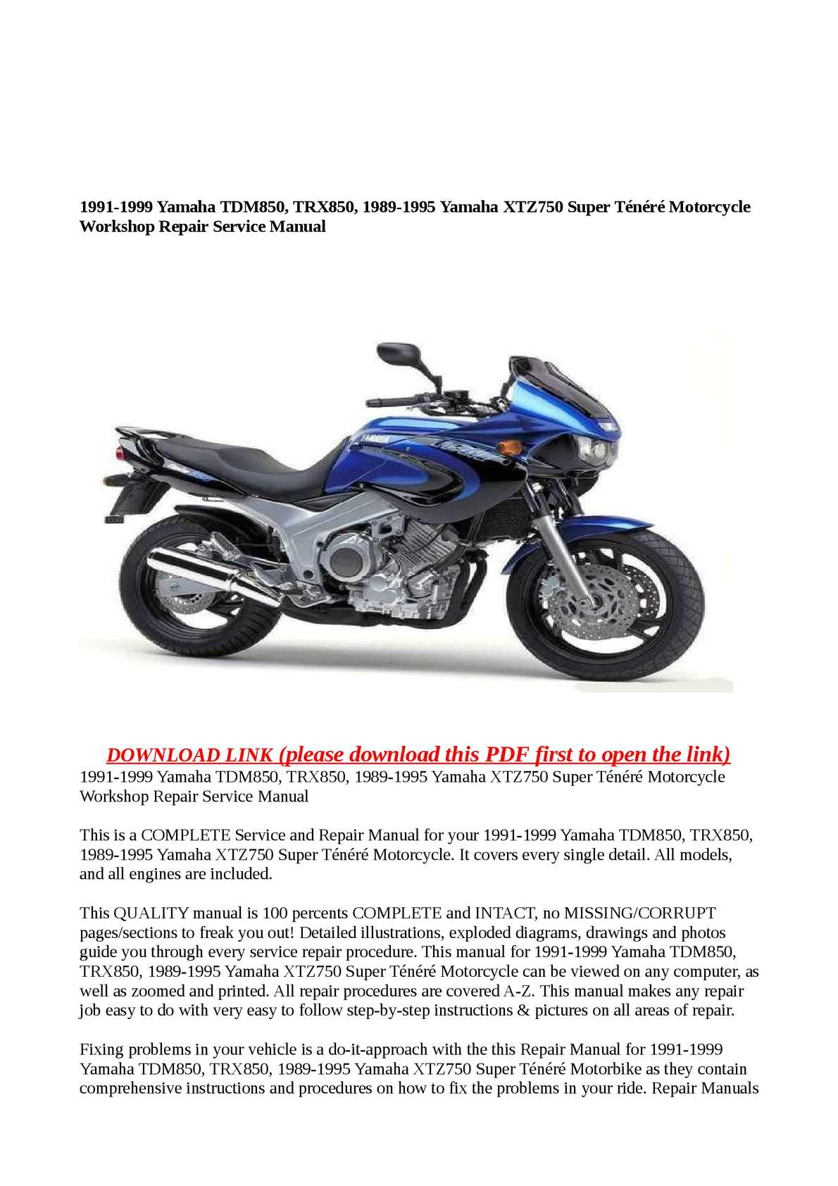 download now yamaha xtz750 xtz 750 super tenere service repair workshop manual