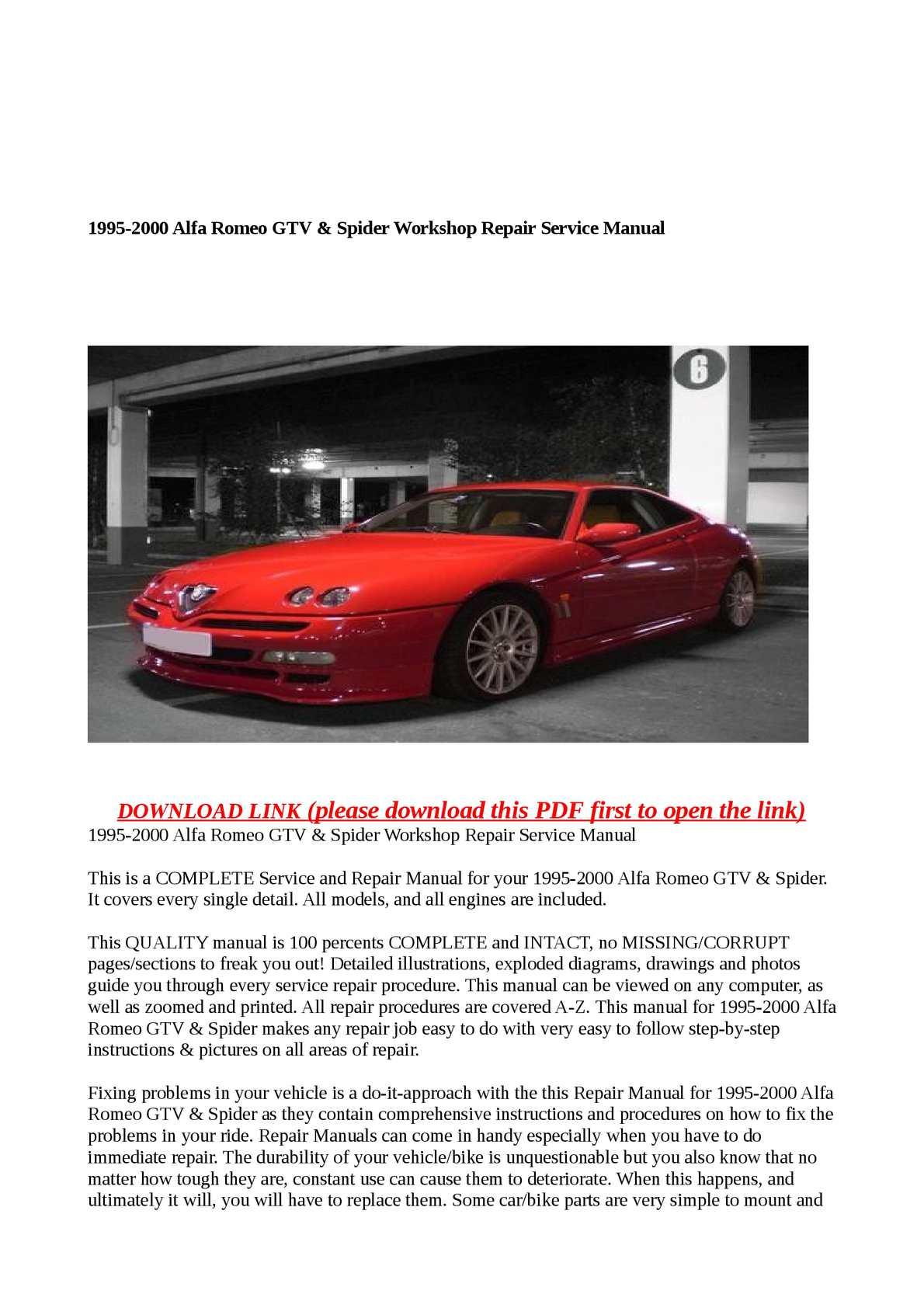 Calaméo - 1995-2000 Alfa Romeo GTV & Spider Workshop Repair Service Manual