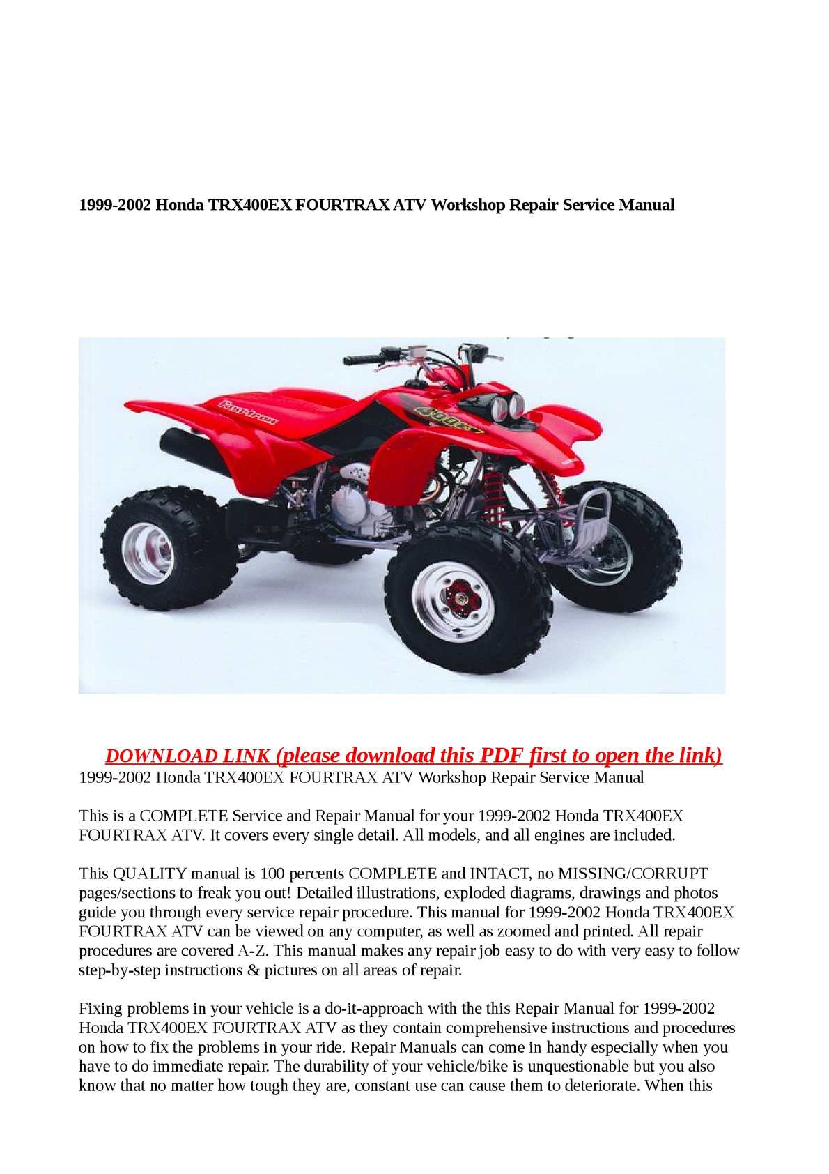Calaméo - 1999-2002 Honda TRX400EX FOURTRAX ATV Workshop Repair Service  Manual