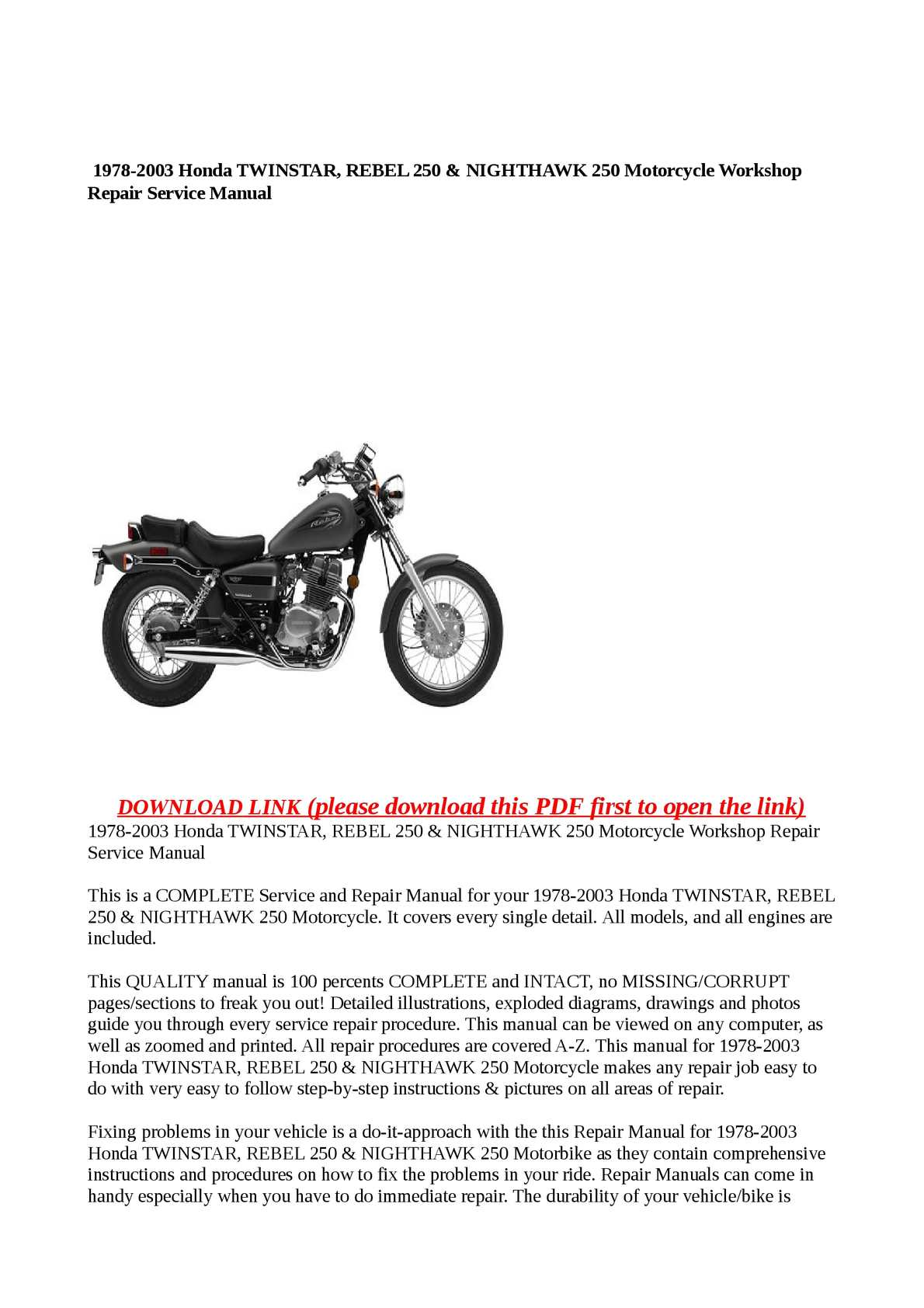 1985 Honda CMX250C Rebel Motorcycle Owner Manual