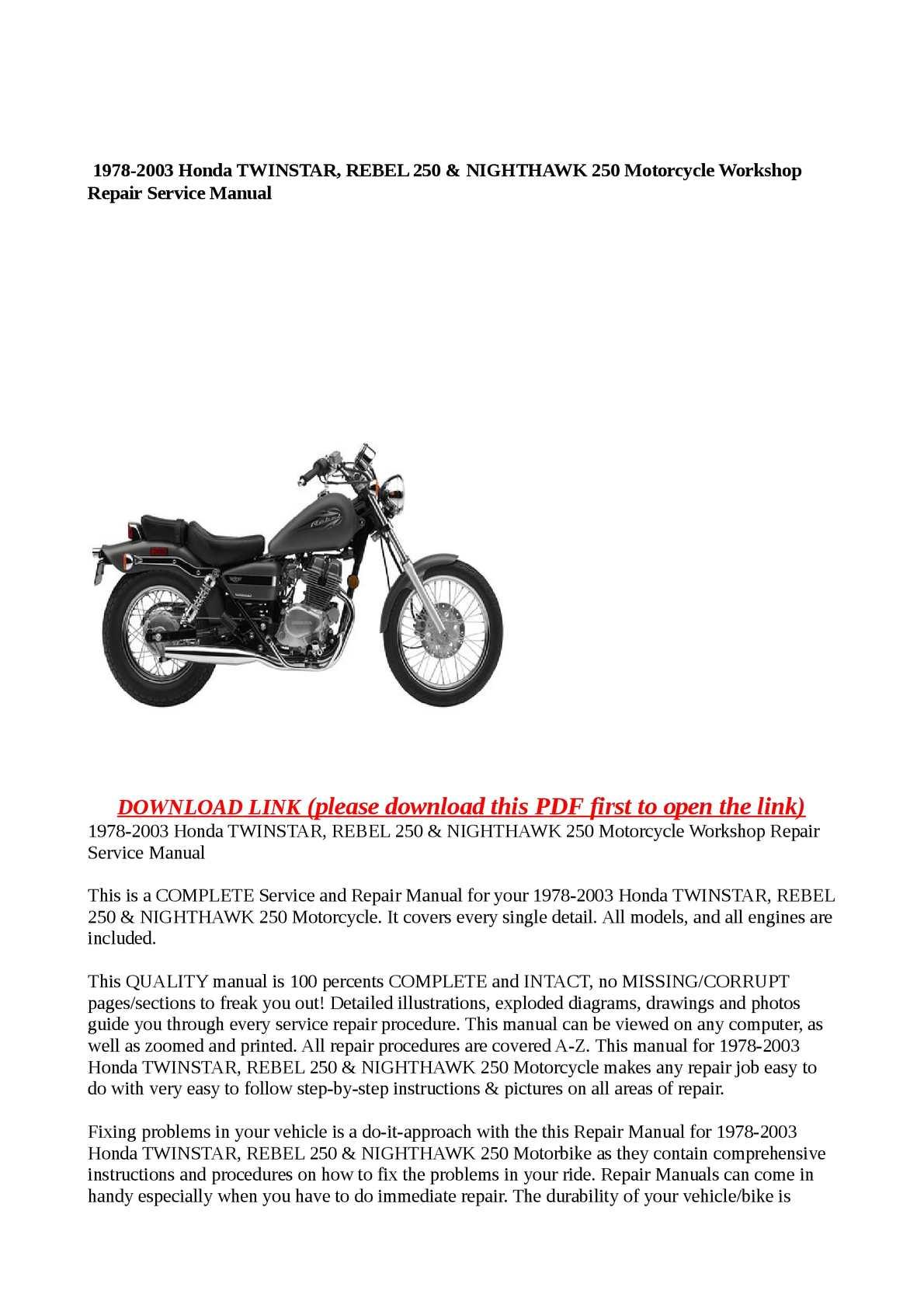 Calaméo - 1978-2003 Honda TWINSTAR, REBEL 250 & NIGHTHAWK 250 Motorcycle  Workshop Repair Service Manual