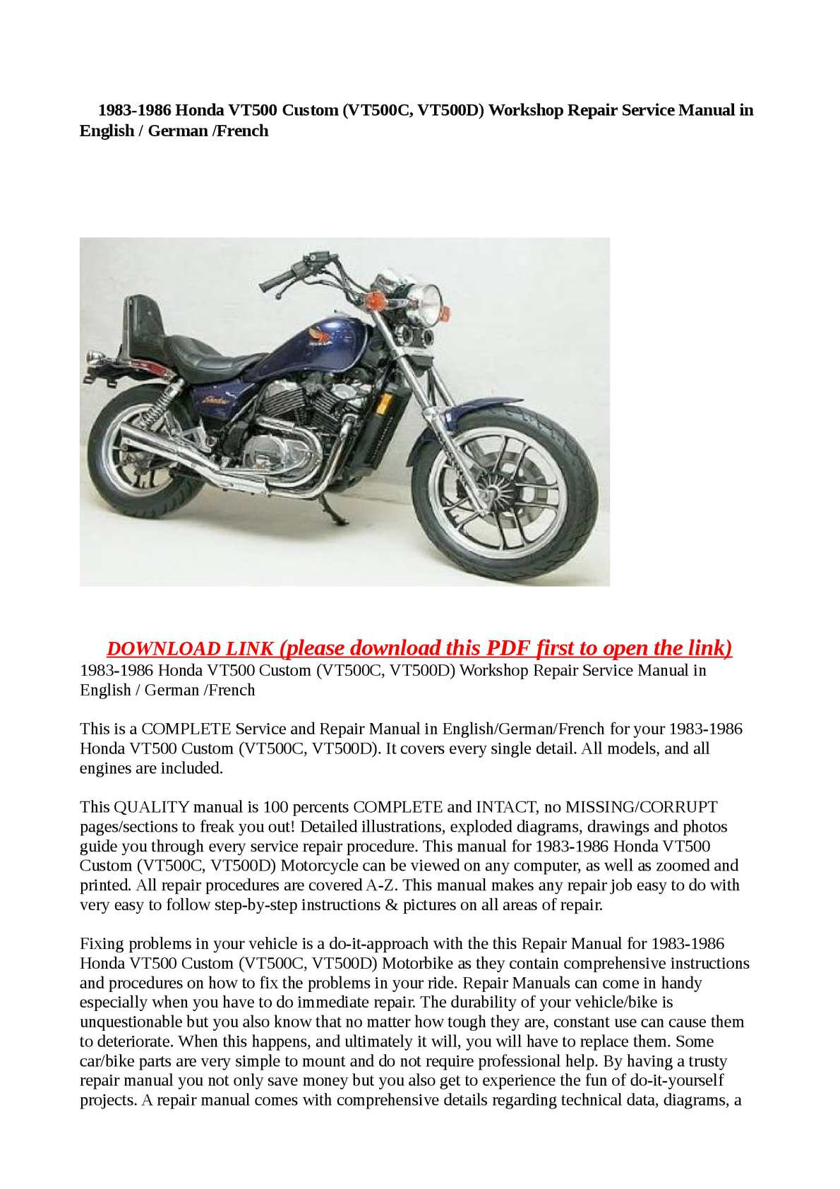 Calaméo - 1983-1986 Honda VT500 Custom (VT500C, VT500D) Workshop Repair  Service Manual in English / German /French