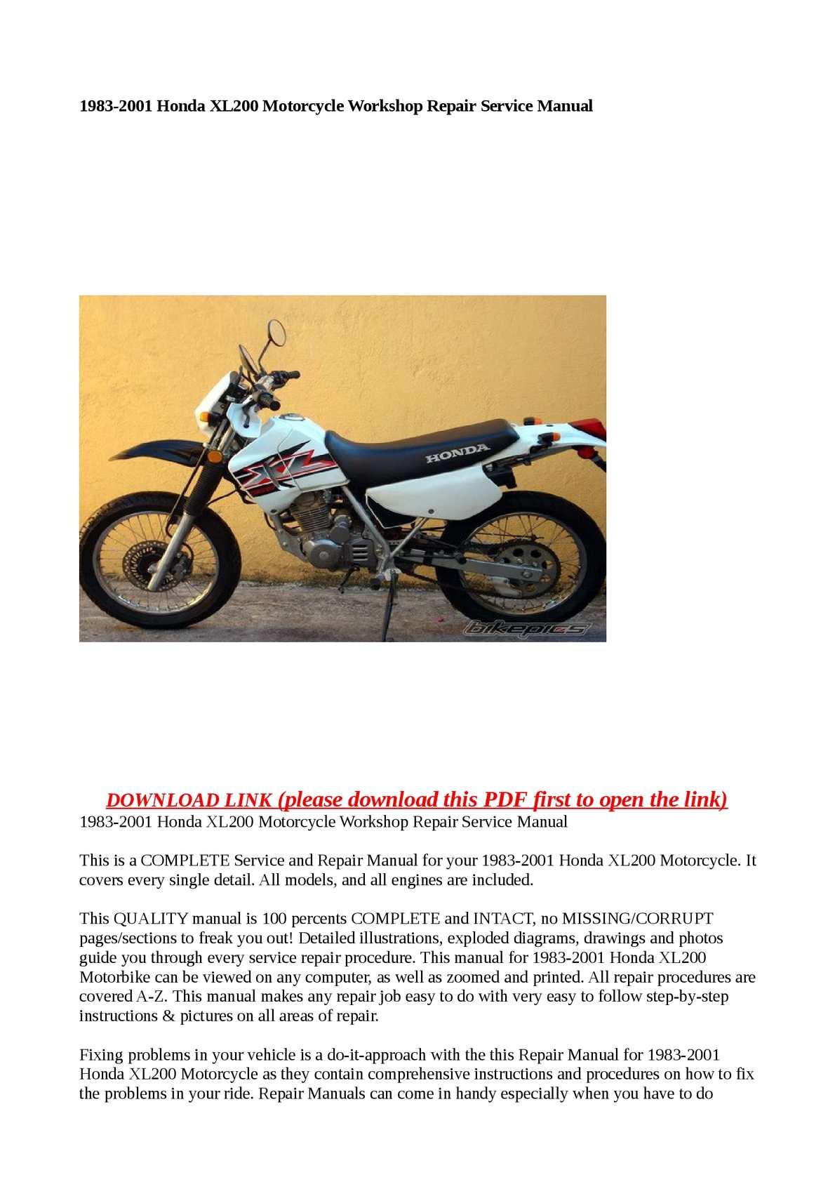 Calaméo - 1983-2001 Honda XL200 Motorcycle Workshop Repair Service Manual