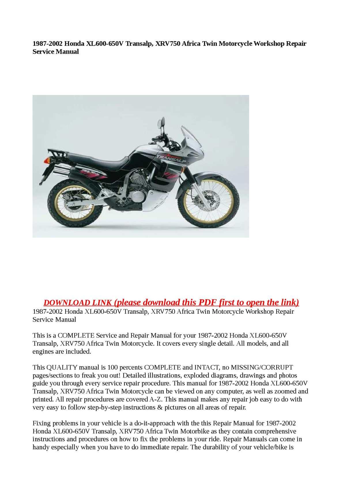 Calaméo - 1987-2002 Honda XL600-650V Transalp, XRV750 Africa Twin  Motorcycle Workshop Repair Service Manual