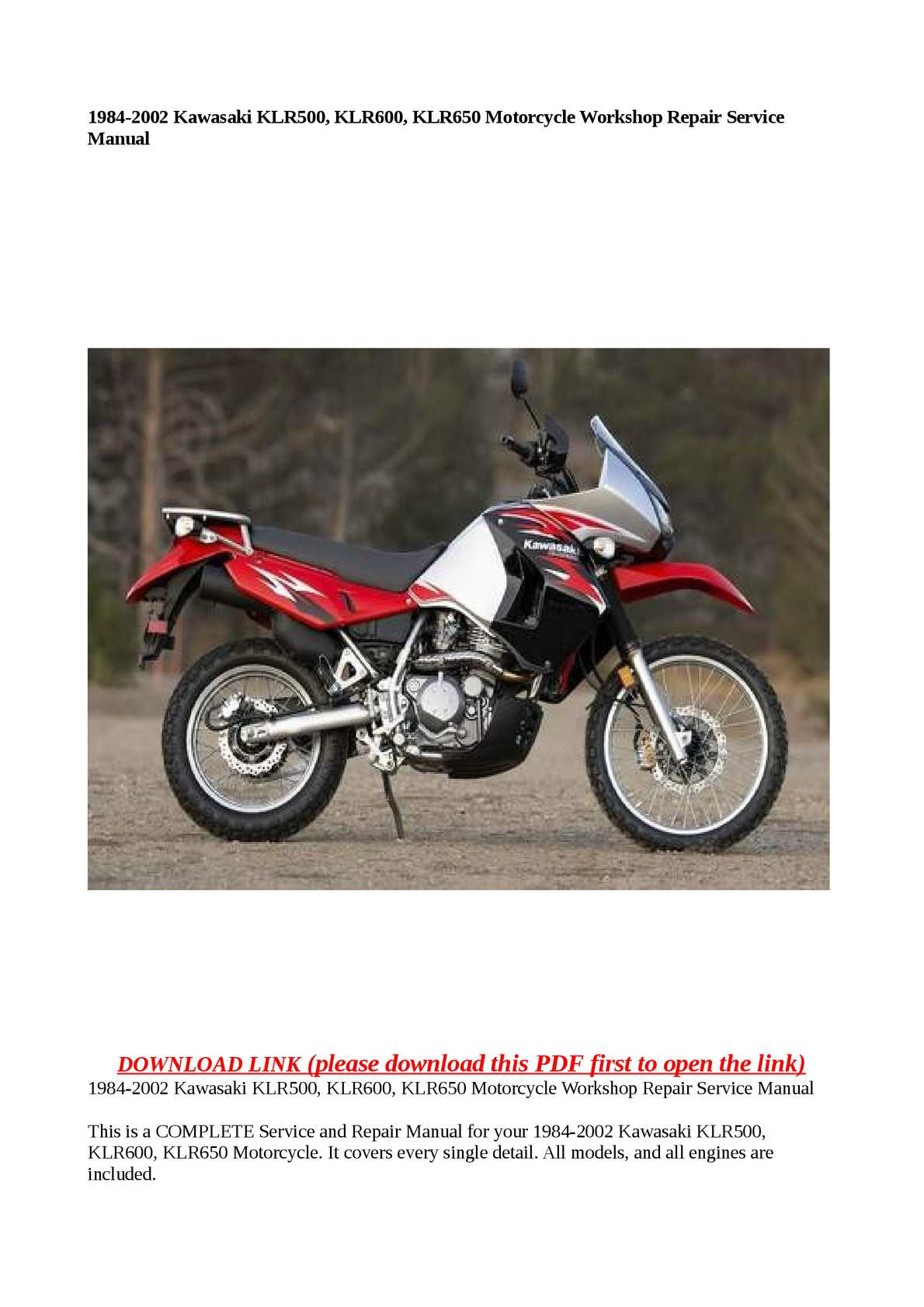 Calaméo - 1984-2002 Kawasaki KLR500, KLR600, KLR650 Motorcycle Workshop  Repair Service Manual