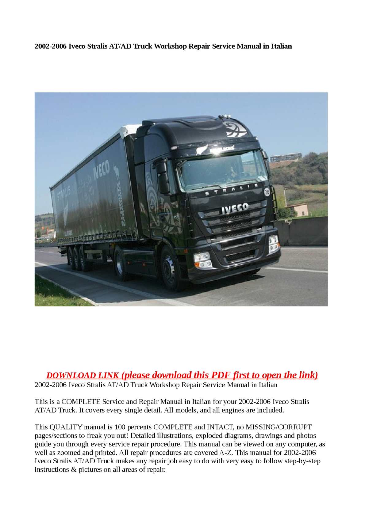 Calaméo - 2002-2006 Iveco Stralis AT/AD Truck Workshop Repair Service Manual  in Italian