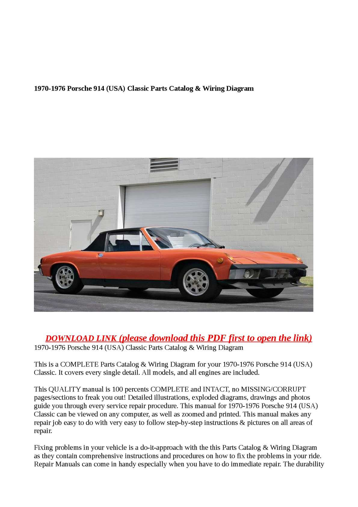 Calaméo - 1970-1976 Porsche 914 (USA) Classic Parts Catalog & Wiring Diagram