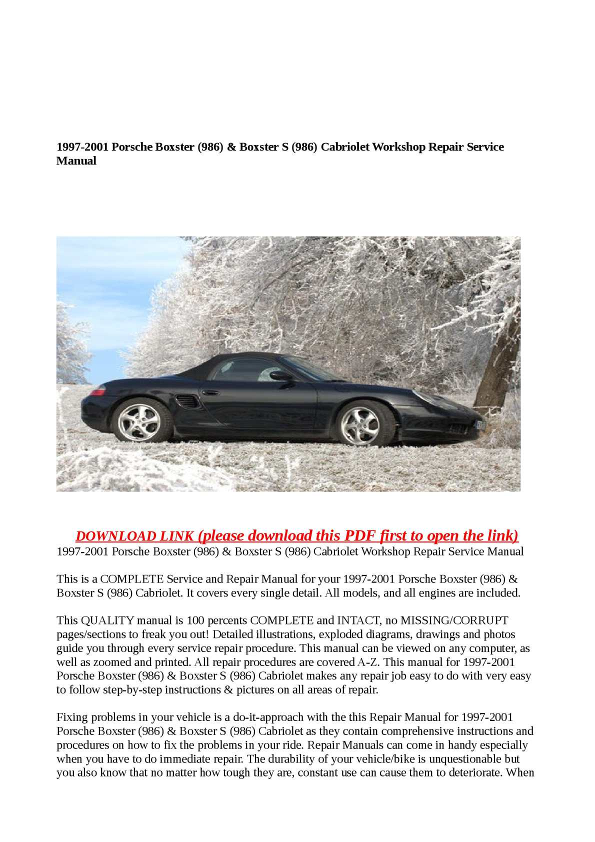 Calaméo - 1997-2001 Porsche Boxster (986) & Boxster S (986) Cabriolet  Workshop Repair Service Manual