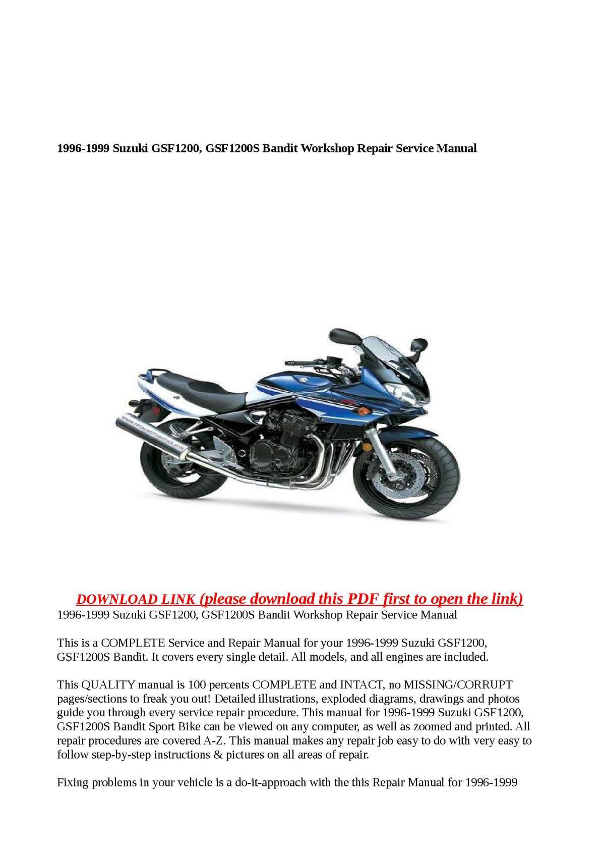 Calaméo - 1996-1999 Suzuki GSF1200, GSF1200S Bandit Workshop Repair Service  Manual