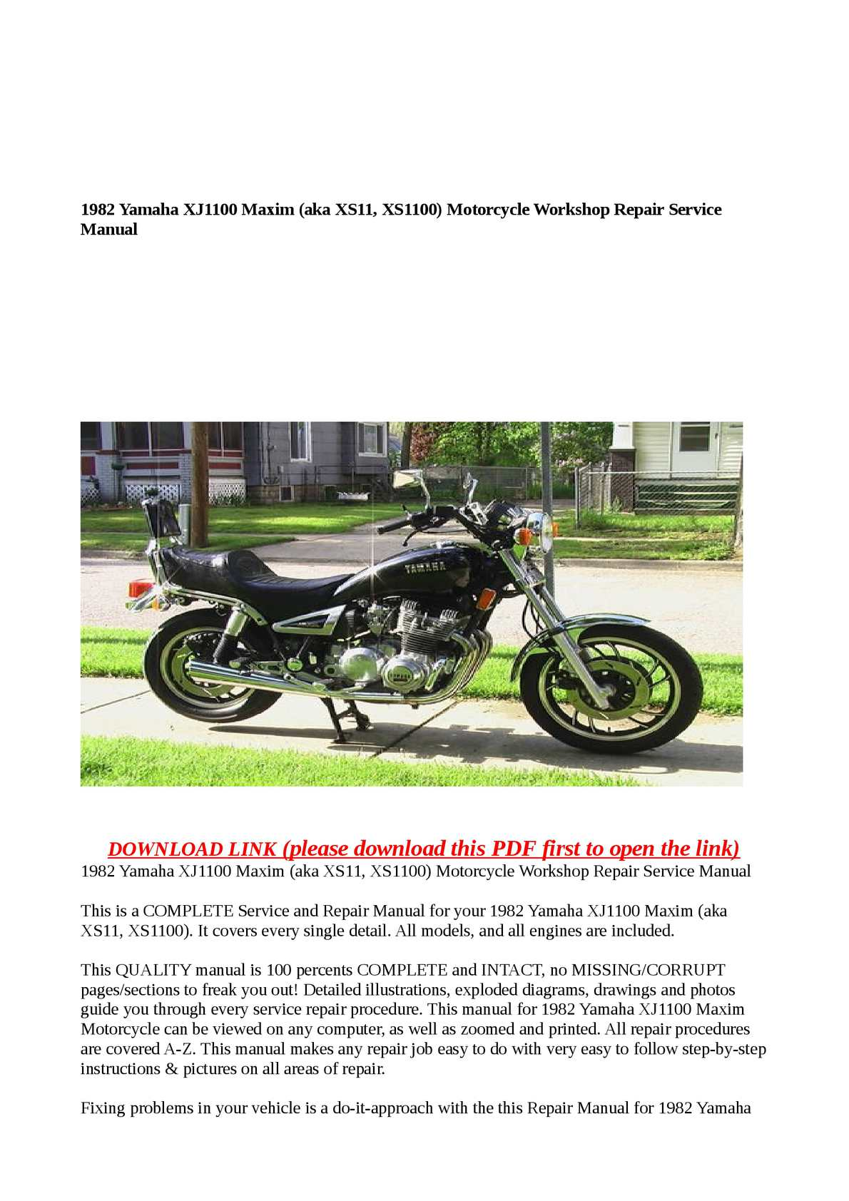 download now yamaha xj1100 xj 1100 maxim service repair workshop manual instant