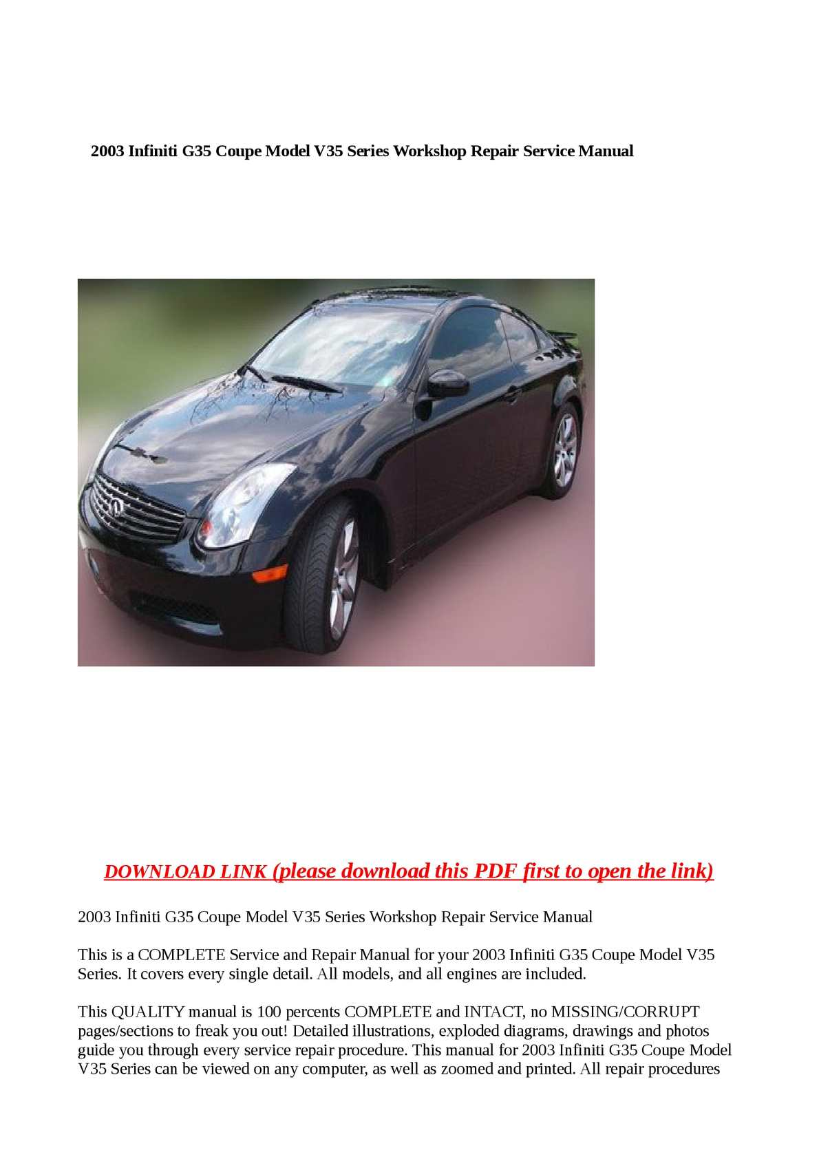 Calaméo - 2003 Infiniti G35 Coupe Model V35 Series Workshop Repair Service  Manual