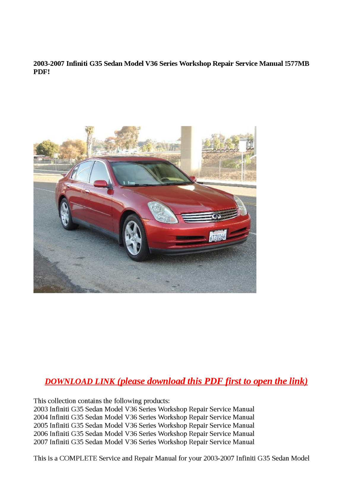 Calaméo - 2003-2007 Infiniti G35 Sedan Model V36 Series Workshop Repair  Service Manual !577MB PDF!