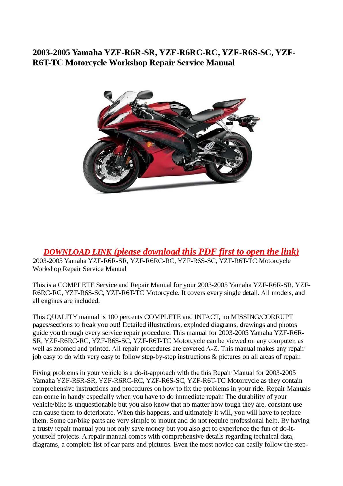 Calaméo - 2003-2005 Yamaha YZF-R6R-SR, YZF-R6RC-RC, YZF-R6S-SC, YZF-R6T-TC Motorcycle  Workshop Repair Service Manual