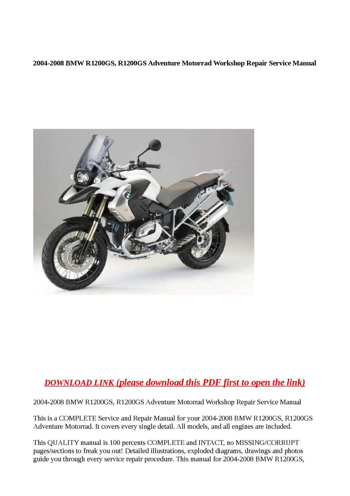 Calaméo - 2004-2008 BMW R1200GS, R1200GS Adventure Motorrad Workshop Repair  Service Manual